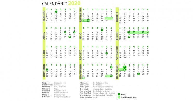 Calendário de 2020: os feriados e pontes para começar a planear o próximo ano